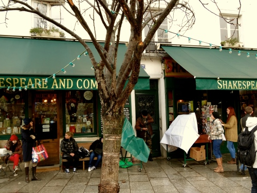 Shakespeare And Company in Paris, on a rainy winter day
