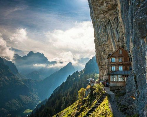 """This came up when I googled """"cliff hanger."""" Aescher Hotel in Appenzellerland , Switzerland. (I mean, I wasn't going to put a picture from Twilight here.)"""